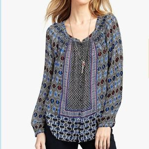 Lucky Brand Gypsy Ikat Top Boho Peasant Style Top